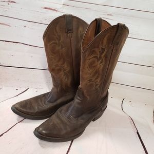 Justin leather brown cowboy boots man 10D 2551